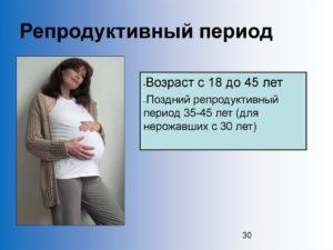 Репродуктивный возраст женщины