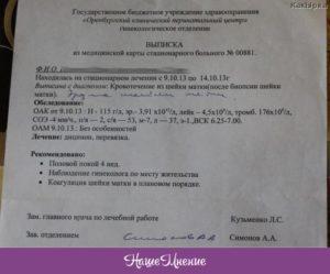 Результаты биопсии шейки матки